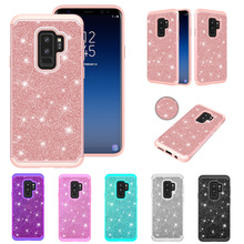 LUCKBUY Fundas luxury Cases For Samsung Galaxy S8 S9 Plus J3 J5 J7 Prime Note 9 Bling Plain Soft TPU 2 in 1 PC + Silicone Case