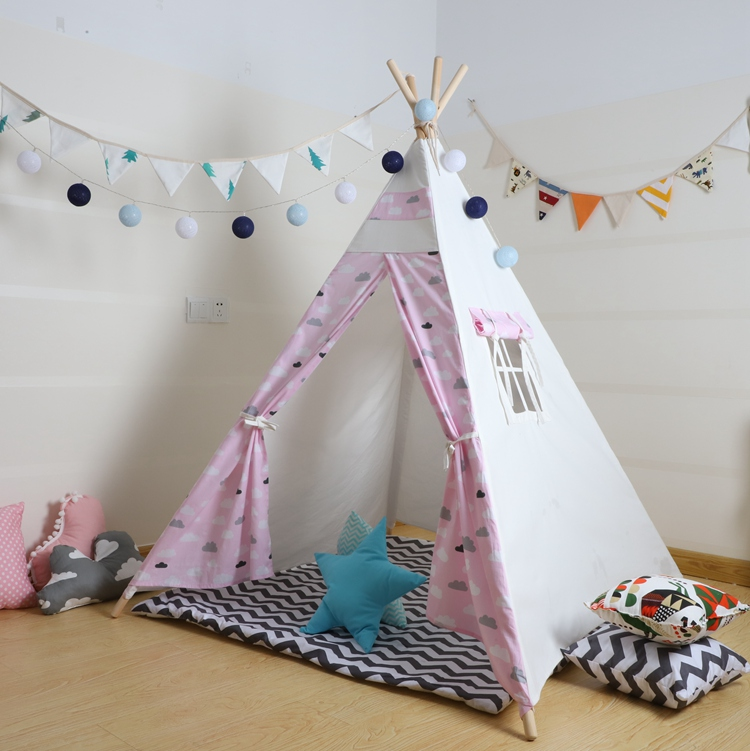 Pink Cloudy Scandinavian Style Kids Tipi Teepee Tent for Children Tipi Tent Kind Teepee Bed yellow chevron pet teepee dog bed house teepee for dogs rabbit teepee