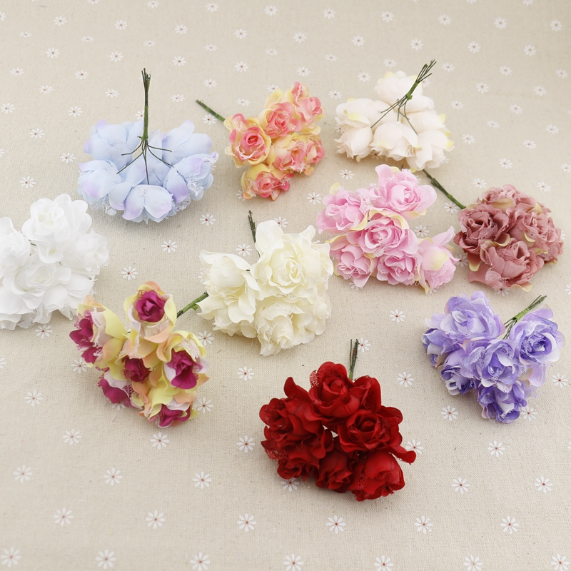 Hot Sale 6pcs Silk Rose For Wedding Car Decoration Corsage Fake