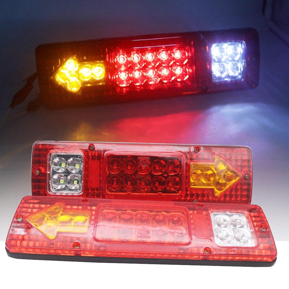 Marlaa 2 PCS Left And Right Trailer 19 LED Truck Reversing Lights Led Tail Lights For Trailer UTE Caravans Truck Car Lighting