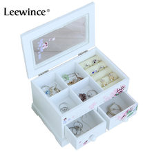 Leewince Custom Jewelry Storage Box Makeup Jewelry Organizer Wood Square Choker Ring Necklace Storage Case ,Support OEM & ODM(China)