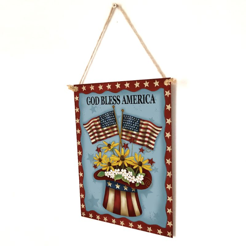 Image 5 - Rustic Wooden Happy God Bless America Flower Sign Plaque Independence Day Room Home Decoration Collection Gift-in Plaques & Signs from Home & Garden