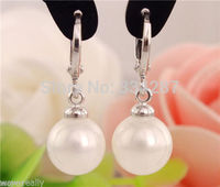 New 12MM White South Sea Shell Pearl Silver Leverback Dangle Earrings