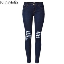 NiceMix 2016 Sexy Skinny Pencil Pants Low Waist Jeans Woman Ripped For Women Denim Femme Blue Scratched Hot