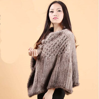 Mink fur shawl chromophous outerwear clothes women's mink fur knitted big hair cape