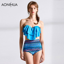 AONIHUA Bikini Set Crop Top Ruffle Mix Color Printing Sexy Woman 2018