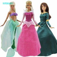 3 Sets Lot Fairy Tale Outfits High Quality Dress Mixed Style Princess Gown Skirt Clothes For