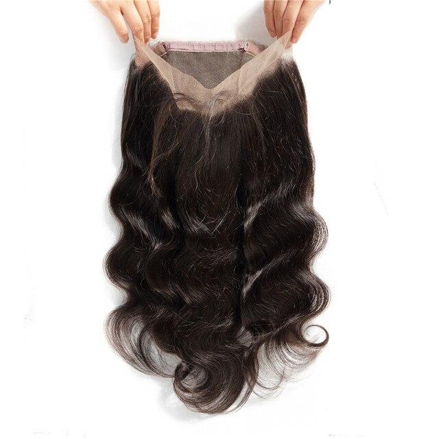 Super Milo 360 pelo Frontal de encaje cierre brasileño Remy del pelo de la onda del cuerpo con el pelo del bebé del cordón del pelo humano del 100% cierre de la parte libre