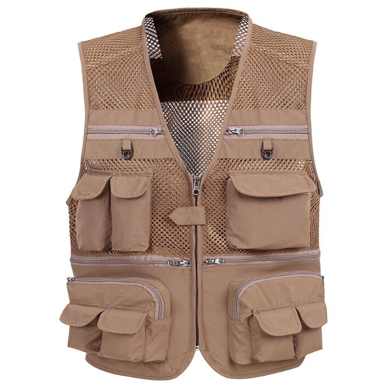 High Quality Summer Men Vest Outwear Mesh Sheer Coats Sleeveless European Men Vest Tactical Tooling Vests For Men S3168