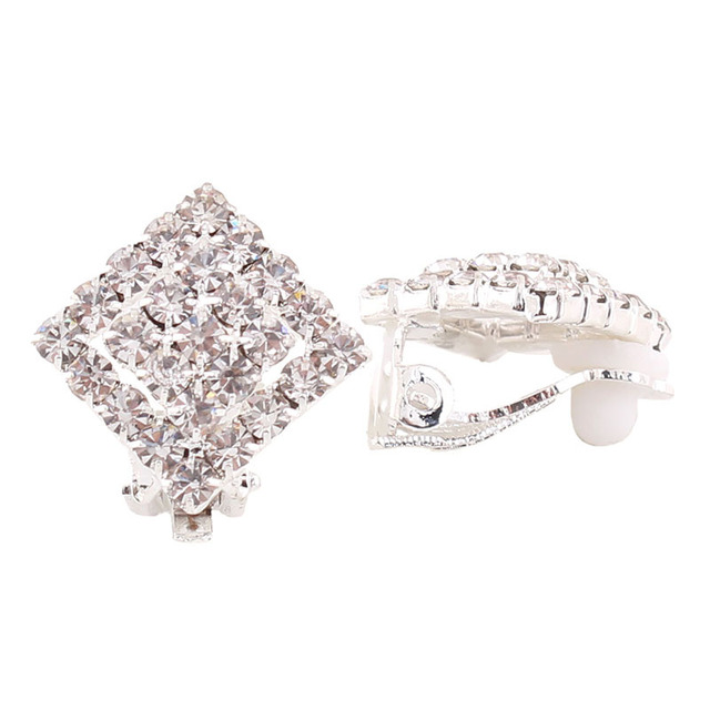 Grace Jun Tm Double Square Rhinestone Clip Earrings No Pierced For Women Charm Fashion