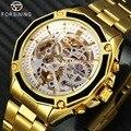 WINNER мужские золотые автоматические механические часы со скелетонным циферблатом из нержавеющей стали Роскошные деловые мужские наручные ...