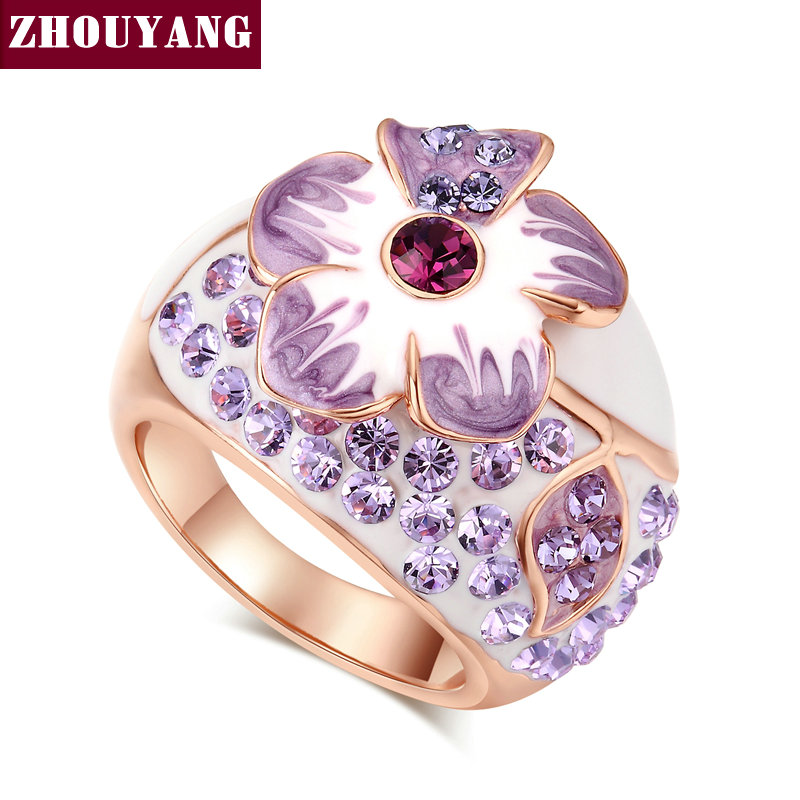 Purple Flower Rose Gold Color Ring Jewelry Austrian Crystals For Women Girl Paryt Wholesale Top Quality ZYR045