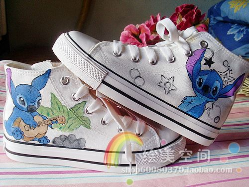 fde0da30f103e Lilo and Stitch Hand painted Canvas Shoes 2 Styles, Kids Children ...