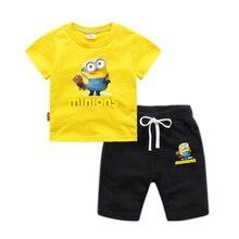 a2c9c131722cc Minions garçons vêtements ensembles été Sport vêtements costume pour bébé  garçons bambin enfants vêtements 1-8 ans enfants vêtem.