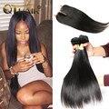 7a pelo virginal brasileño con cierre sin procesar barato del pelo humano 3 paquetes de brasileño pelo liso con lace closure suave