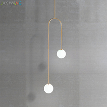 купить Nordic design Pendant Lights for Living Dining Room kitchen lamparas Bedside U Shaped Led Glass Ball Warm modern light fixtures онлайн