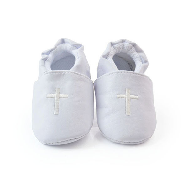 Unisex White Toddler Baby Cross Baptism Shoes Church Soft Sole Leather Kids Crib Shoes