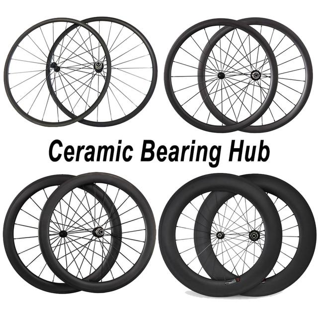 Cheap Ceramic Bearing Wheelset 24mm 38mm 50mm 60mm 88mm Clincher Tubular Carbon Road Bike Bicycle Wheels Powerway  Ceramic Bearing Hub