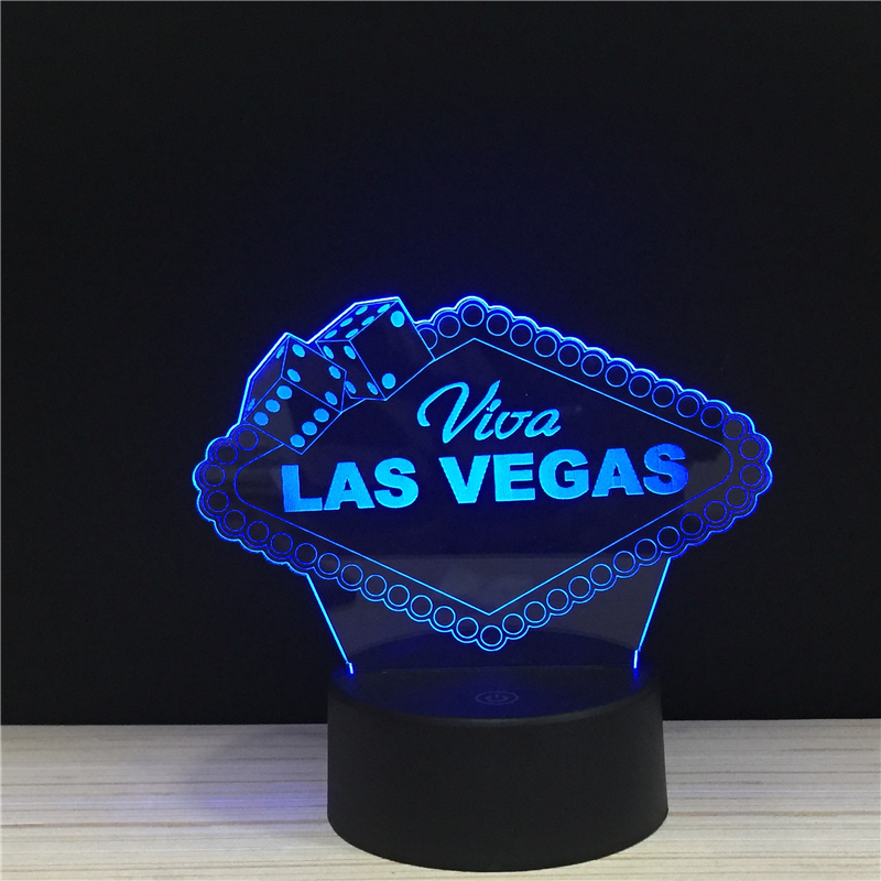 LED 3D Las Vegas City Brand Sign NightLight Acrylic Night Lamp Light Luminary With Touch And Remote Lamps Lights Location Decor