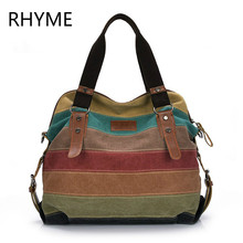 RHYME Stripe Patchwork Canvas Women Bag Vintage Messenger Female Shoulder Tote Casual Rainbow Large Handbag