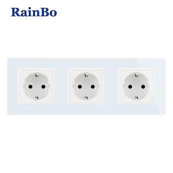 RainBo Manufacturer-Wall power-Socket EU-Standard   Crystal-Glass-Panel AC 110~250V-16A 222*80mm Wall-Socket A38E8E8EW/B - DISCOUNT ITEM  15% OFF All Category