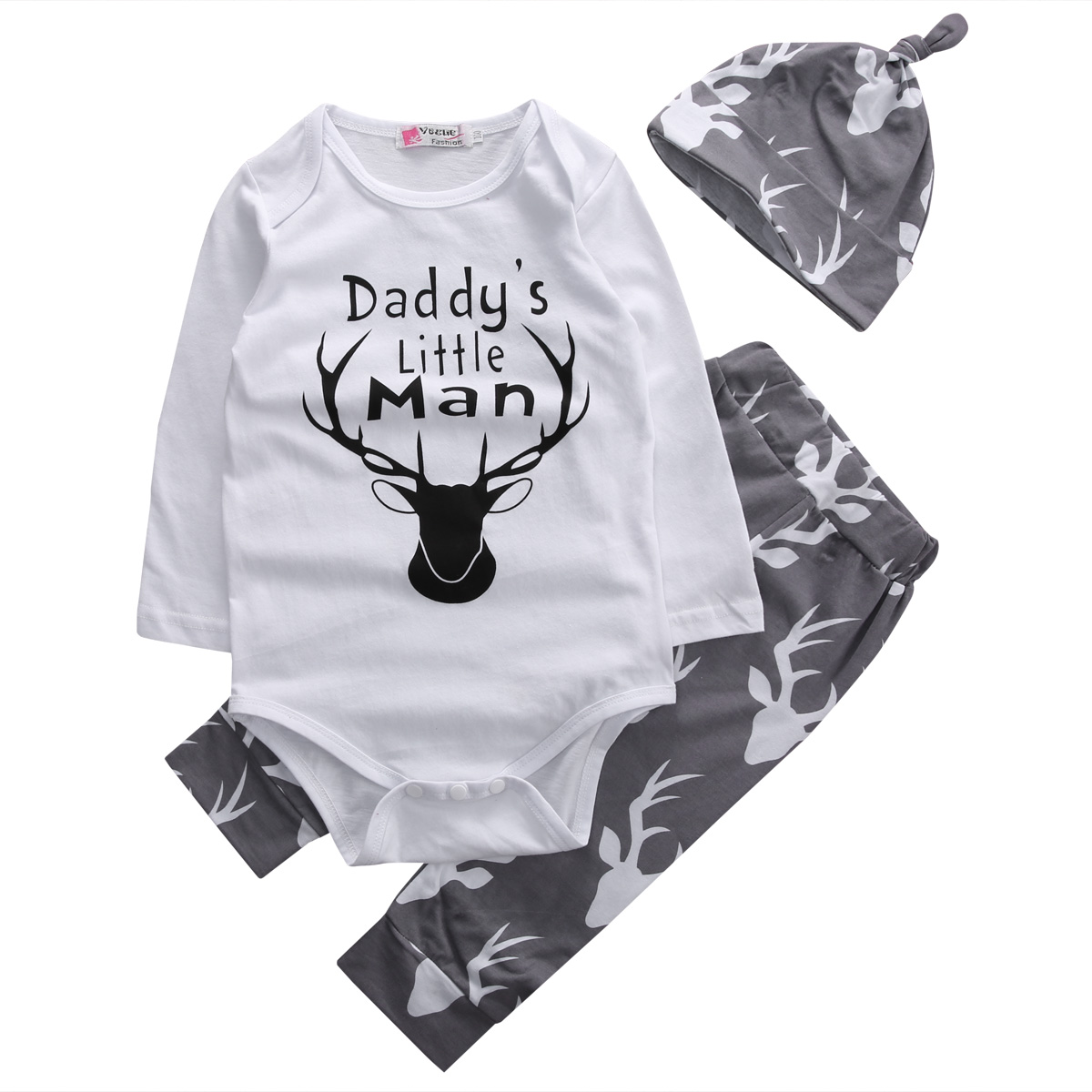 2017 Hot 3PCS Newborn Kids Baby Boys Clothes Daddy's Little Man Deer Romper Pants Legging Hat Outfit Toddler Infant Clothing Set absorba baby boys newborn g velour tutu legging set