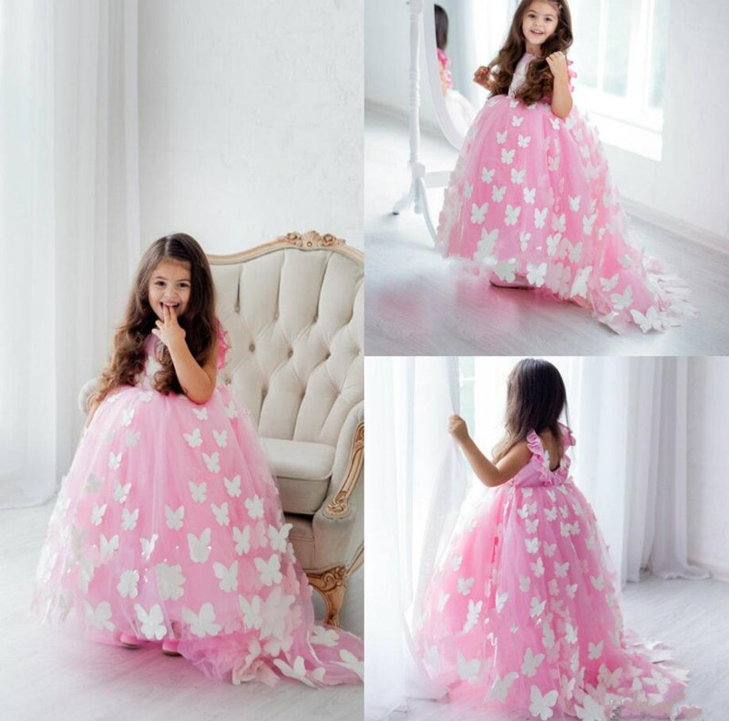 Lovely Pink Baby Girls Dresses Puffy Tulle 3D Butterflies Backless Ankle Length Girls Birthday Dress Pageant Party Gown CustomeLovely Pink Baby Girls Dresses Puffy Tulle 3D Butterflies Backless Ankle Length Girls Birthday Dress Pageant Party Gown Custome