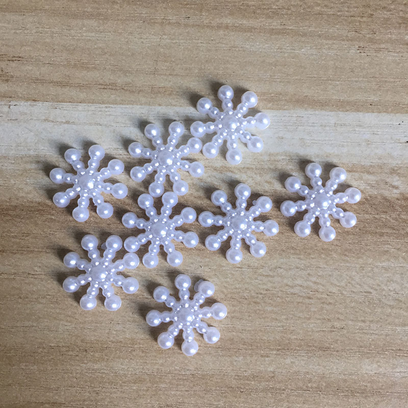 Блеск 100 шт/партия белый снежный цветок Форма скрапбукинга имитация жемчуга бусины швейные пуговицы декоративные бусины «сделай сам» BV104