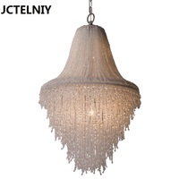 American Brief Small Living Room Pendant Light Modern Iron Glass Lamps Circle Bedroom Crystal Pendant Light