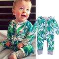 Новорожденный Ребенок Мальчики Девочки Бамбука Комбинезон Одежда Симпатичные Малышей Комбинезон Одежда Зеленый Молния Ребенка 0-18 М
