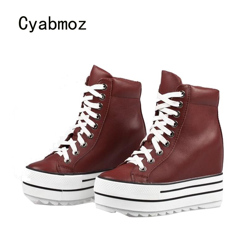 Cyabmoz Women Wedge Platform Shoes Genuine leather High Heels Thick bottom Woman Height increasing Lace up Casual Ladies shoes cyabmoz women wedge platform hidden high heels lace up high top height increasing ankle boots ladies casual white single shoes