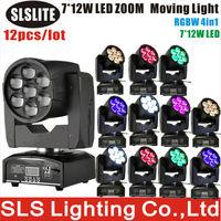 12pcs/lot led moving zoom 7x12 led moving head equipments producing 4in1 led RGBW super beam mini led moving dj club zoom light