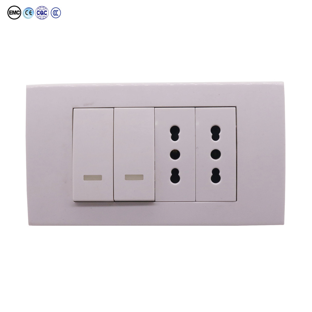 1 Pcs Italy Three-hole Socket With Switch Italy 118 Engineering Switch Socket Italian Switch Socket Electrical Sockets 250 / 10A scinder switched socket package 15 steel frame two or three five hole electrical outlet wall switch panel switch
