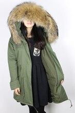 Без подкладки 2016 Новый 7 цвета Армия Зеленый весной пальто женщин длинные натуральный мех пальто большой енот Меховой воротник капюшоном Тонкий слой куртки
