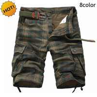 HOT 2016 Summer Mens Straight Grid 100 Cotton Workout Overalls Cargo Shorts Men Army Jungle Camping