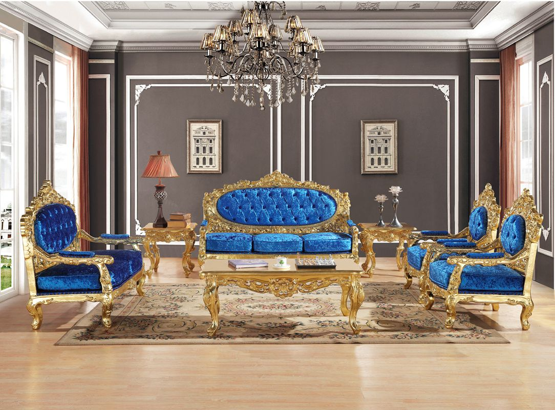 Royal Blue Velvet Antique Gold Gliding Carved Sofa Set ...