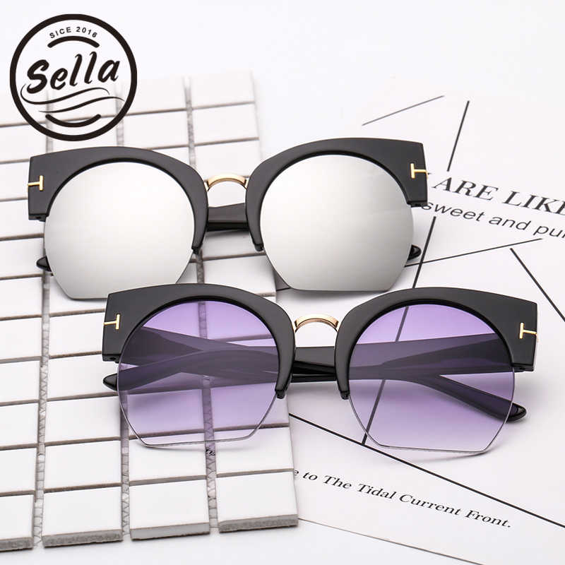 8a4361d4650 ... Sella 2018 New Arrival T Brand Fashion Women Cateye Sunglasses Retro  Classic Trending Semi-Rimless