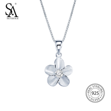 SA SILVERAGE Pendant Necklaces 925 Sterling Silver Cubic Zirconia New Flower For Women Chokers Colar