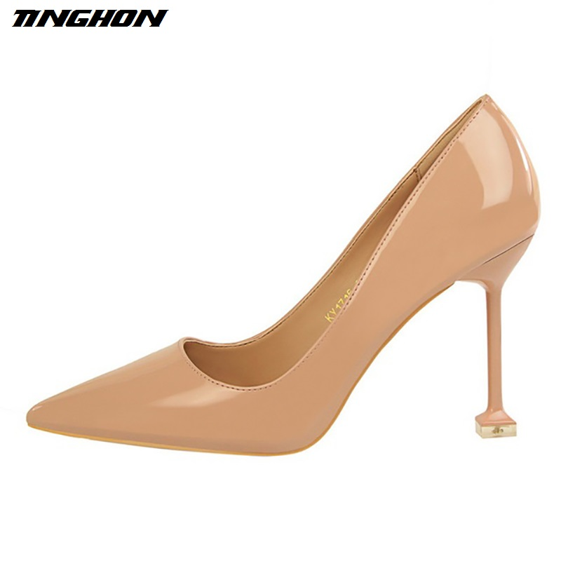 TINGHON Fashion Women High Heels Sexy Pumps Patent Leather Pointed Toe Party Wedding Thin Heels Black Nude Heels Shoes 2017 spring fashion 9 cm pointed toe high heeled shoes metal pearl decoration thin heels patent leather wedding party shoes