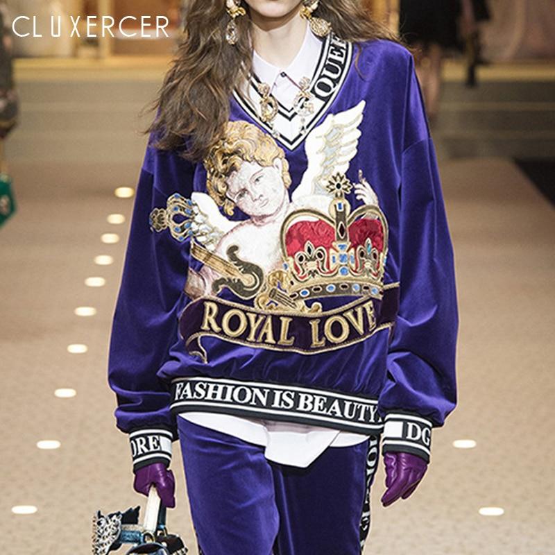 2019 nouveau luxe Designer piste mode sweat femmes col en V lettre broderie pull sweat femme survêtement haut Kpop