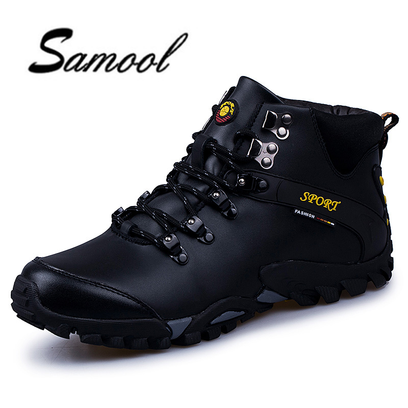 все цены на Samool Brand Men's Winter Shoes Martin Winter Snow Lace Up High Top Leather Boots Size 38-45 Warm Plus Size Men Shoes XX4