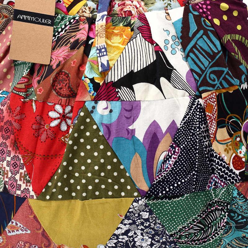 2b7bbfe29 ... Annmouler marca mujer Cotton Telas bolsos patchwork ajustable hippie  gran capacidad Hobo gitana bolsa ...
