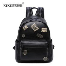 XKMD Famous Brand Mini Backpack Women Rivet Backpacks Solid Vintage Girls School Bags Black PU Leather