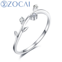 ZOCAI Style Ring Natural 0.08 CT Diamond Ring with Real 18K White Gold (Au750) W06235