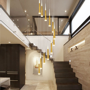 Image 3 - 1 36 heads led stairs pendant lights modern aluminum Acrylic lampbody hang lamp living dining room kitchen suspension luminaire