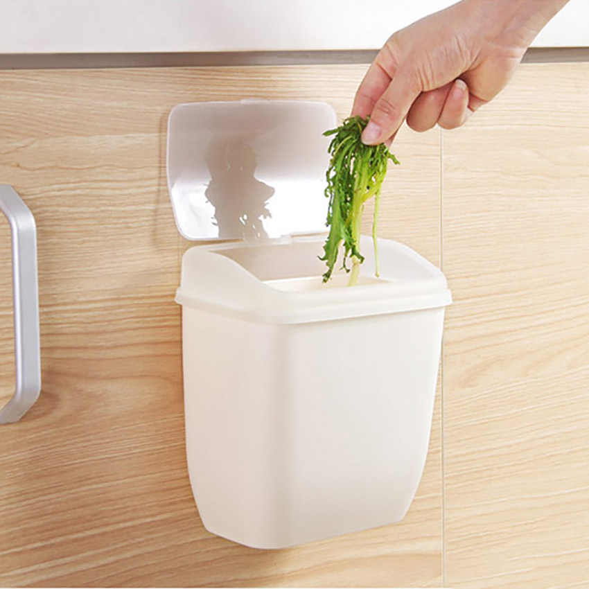 1PC Container Wall-mounted Trash Can With Lid Plastic Debris Storage Box Nail-free Trash Bin Organizer Kitchen Toilet Supplies