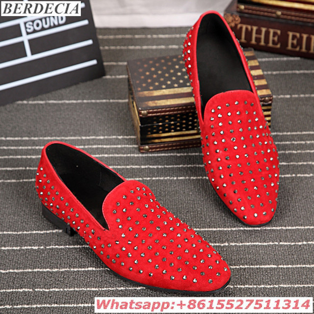 496e4065fd7 Vintage Rivets Studded Loafers Moccasins Mens Dress Italian Zapatos Hombre  Red Black Slip On Handmade Wedding Men Shoes Casual