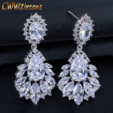 CWWZircons Elegant Chandelier AAA+ Cubic Zirconia Long Big Crystal Bridal Dangle  Drop Earring For Wedding Jewelry CZ202 fd40a5bf4092