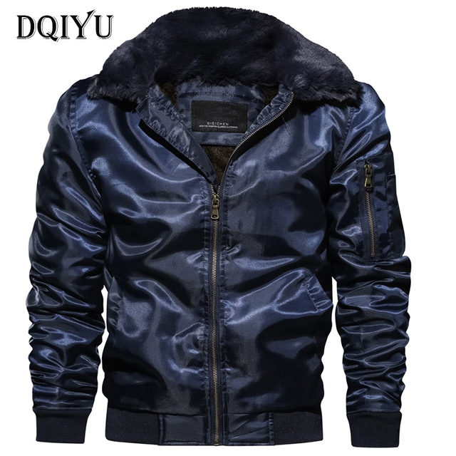 e568a9d91 US $27.3 22% OFF|Europe/US Size New Motorcycle Biker Jacket Men Winter  Fleece Warm Bomber Jacket Fur Collar Military Male Coat Army Green  Jacket-in ...