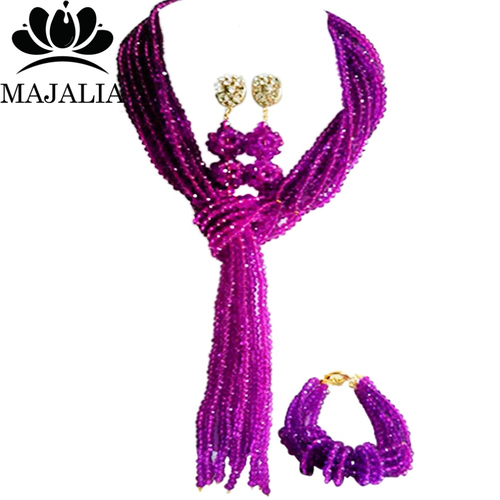 Trendy Nigeria Wedding Purple african beads jewelry set crystal necklace bracelet earrings Free shipping Majalia-095 цена